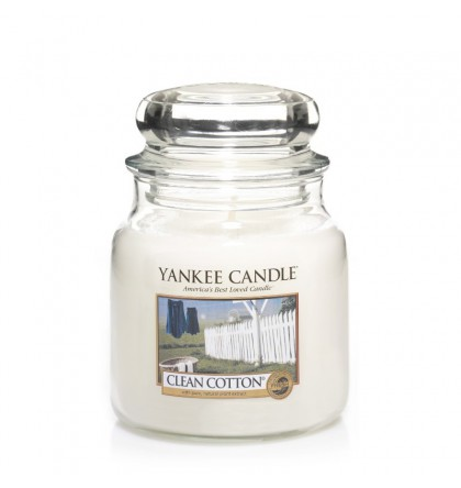 Yankee Candle Moyenne jarre Clean Cotton / Coton Frais Yankee Candle